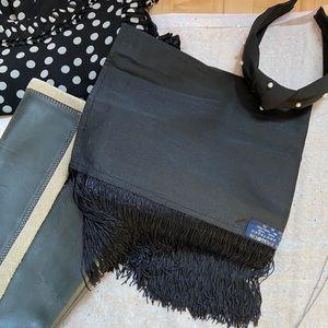 Black silk scarf / wrap with fringe